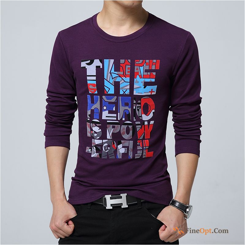 Bottoming Shirt Autumn Men's Pure Long Sleeves Trend Round Neck T-shirts