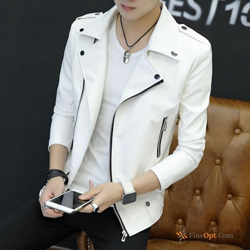 Cheap Slim Autumn Trend Men's New Coat Leather Leather Jacket