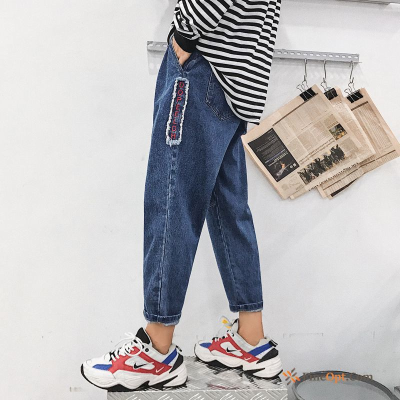 Cheap Street Blue Trend New Denim Literature Art Spring All White Jeans
