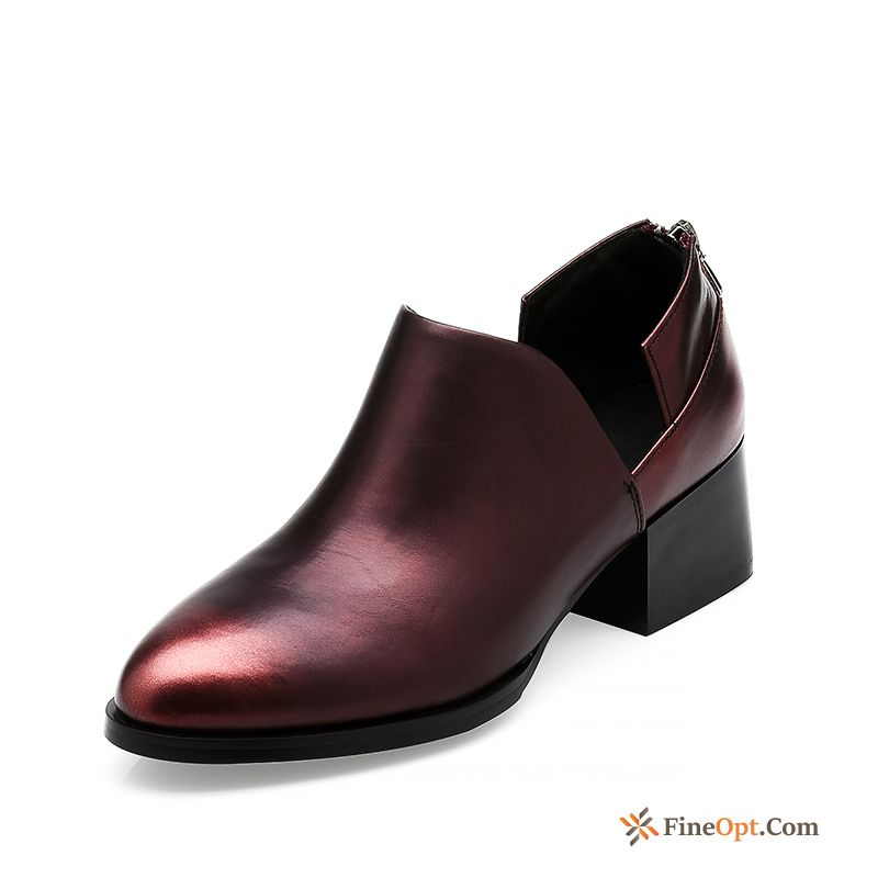 Genuine Leather Round Toe British Casual New Thick Mid Heel Leather Shoes