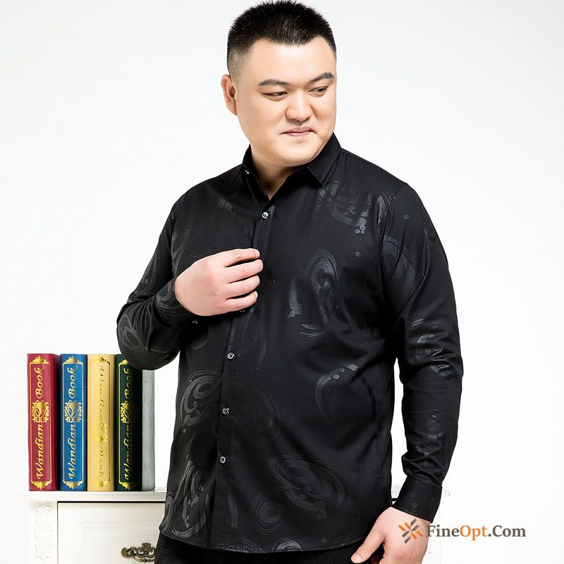 Men's New Spring Fatty Shirt Large Middle Aged Snow-white Shirts Online