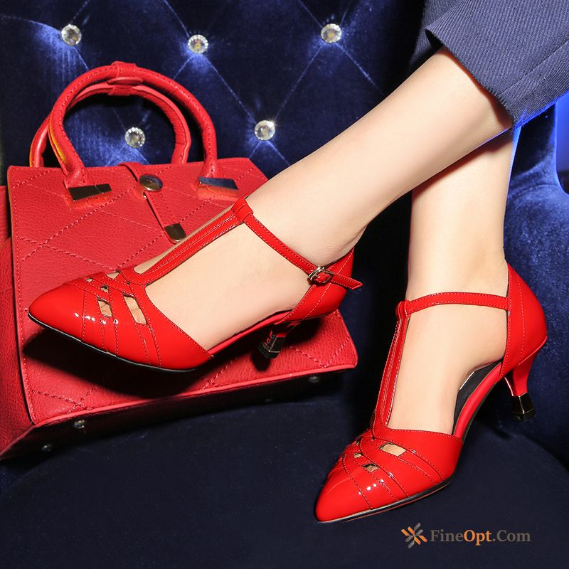 Pointed Toe Top Leather Spring Summer Genuine Leather Sandals Patent Leather Sandals Online