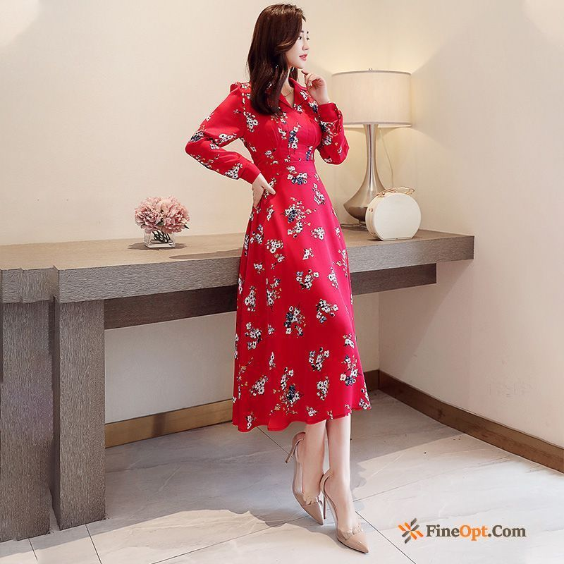 Red Spring Long Sleeves Floral Long New Chiffon Dress