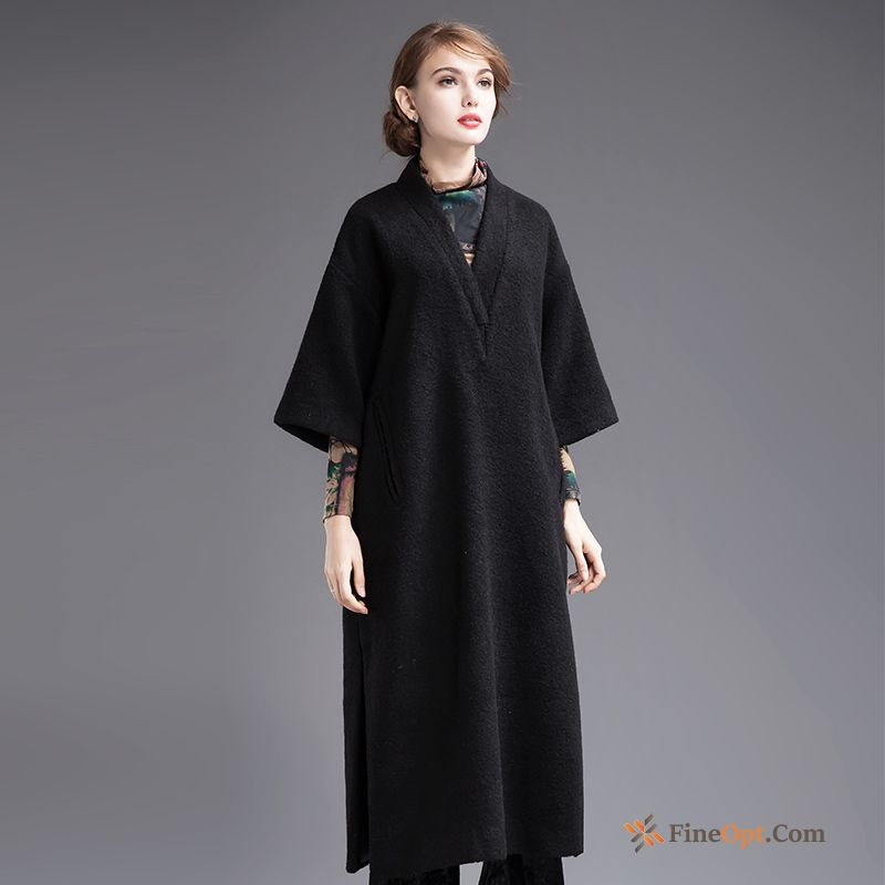 Simple Long Section Fashion Woolen Autumn Big Winter Dress Sale
