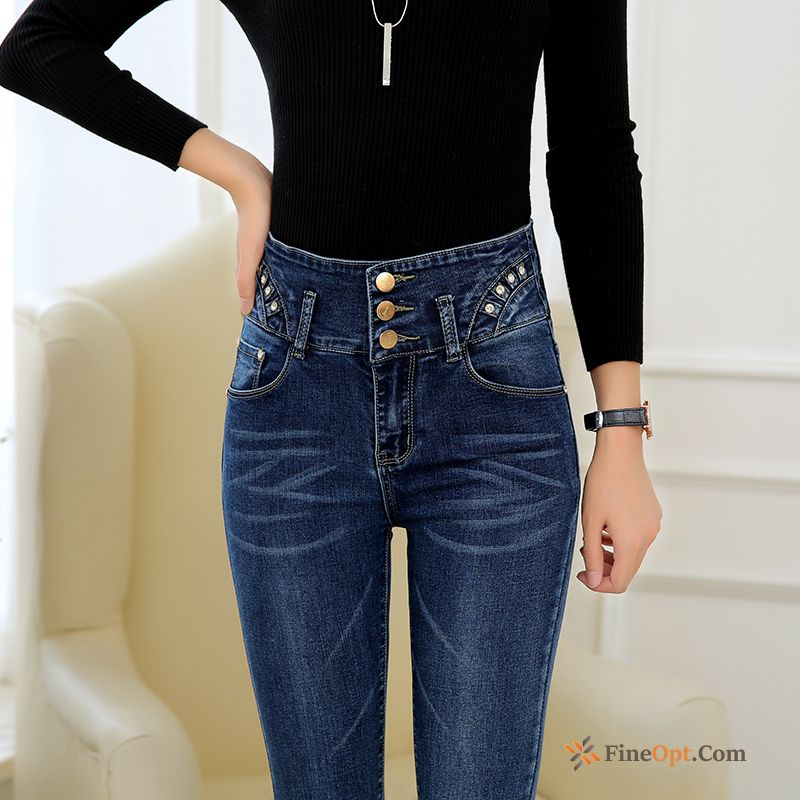 Trend High Waist Jeans Thin Europe Skinny Gray Deep Yellow
