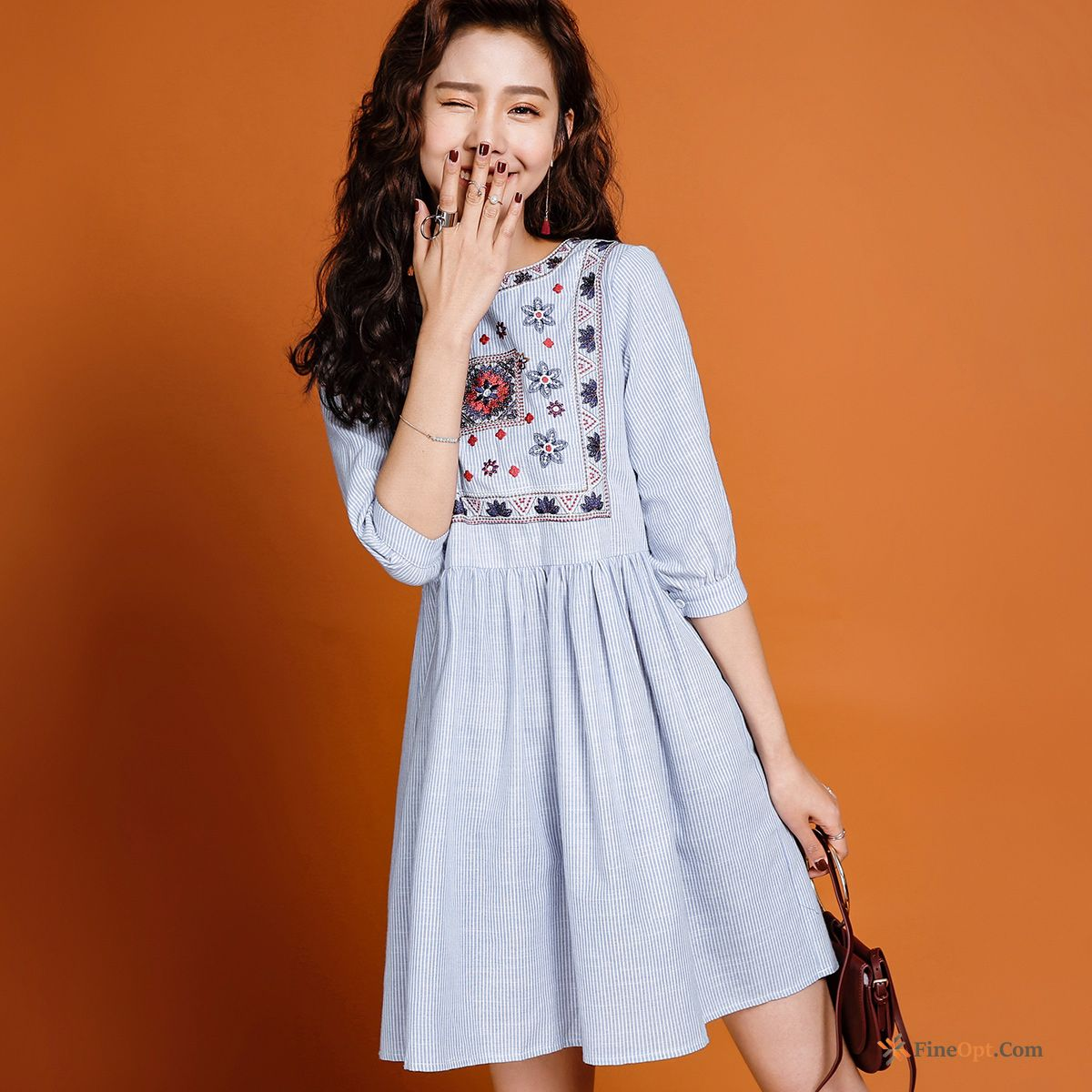 A Letter Flowers New High Waist Spring Embroidery Round Neck Salmon Pink Dress Discount
