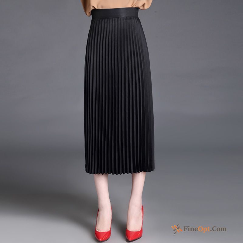A Letter Spring New Pleated Long Section Long Skirt High Waist Skirts
