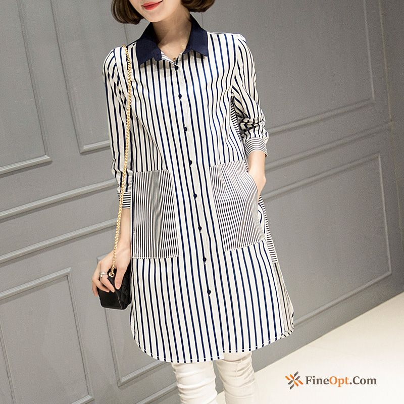 All-match Blouse New Bottoming Shirt Spring Sleeve Pocket Blouse