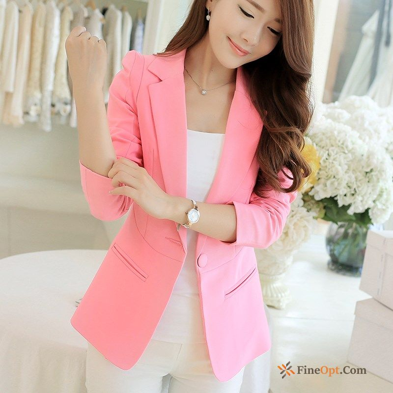 All-match Candy Colors Coat Blazer Pink A Buckle Lady