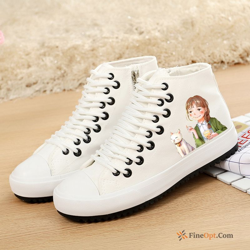 All-match Cartoon Flat Flat Student Trend High Top Running Shoes Sale