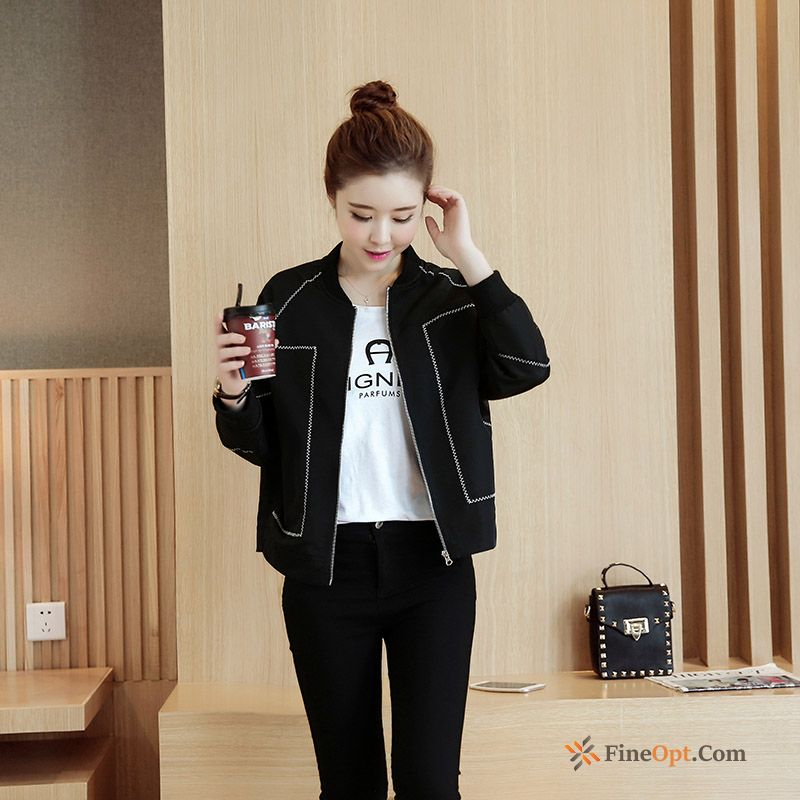 All-match Coat Autumn Europe Black Short Loose Jacket For Sale