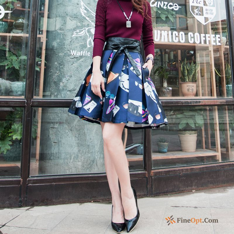 All-match Spring Autumn Pleated Flower Short Skirt Long Pale Purple Skirts