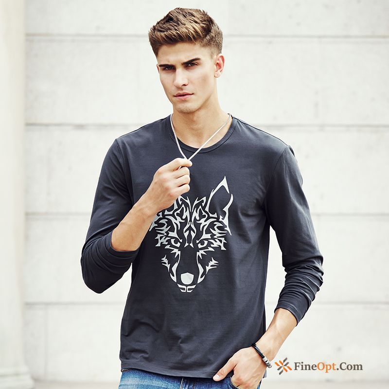 Animal Round Neck Youth Bottoming Shirt Long Sleeves Flower Printing T-shirts