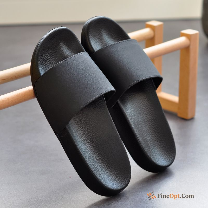 Anti-skid Soft Sole Lovers Black Home Indoor Men's Slippers