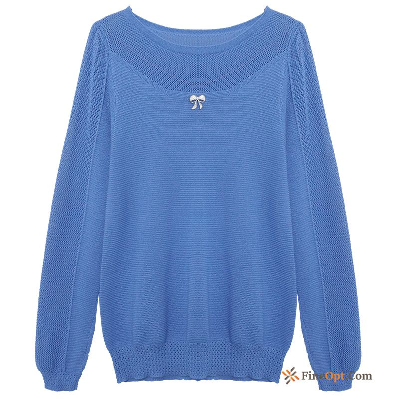 Autumn Blue Bottoming Shirt Long Sleeves Knitwear Sweater Coat Loose Sweater