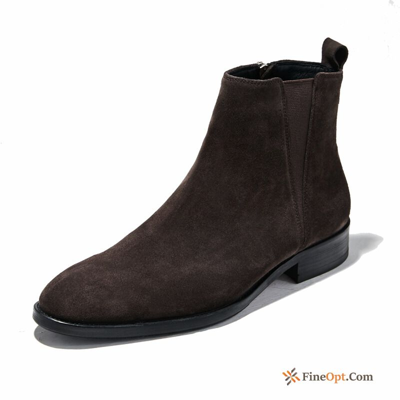 Autumn Boots High Top New Leather Shoes Short Boots Martin Boots Pitch-dark Online