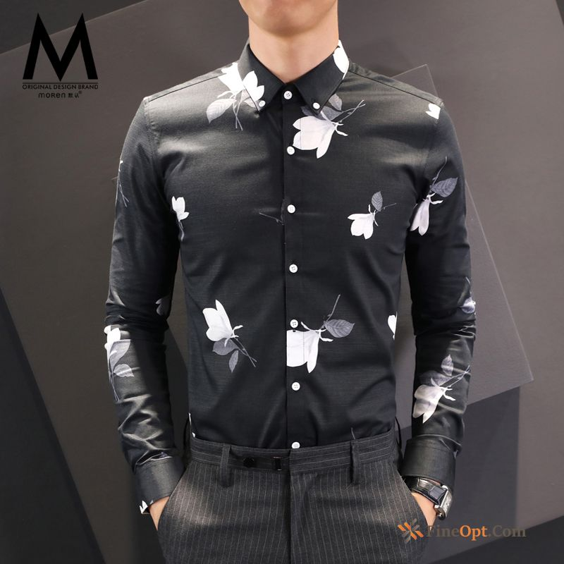 Autumn Coat Printing Men's Slim Flower Trend Lawngreen Shirts Sale