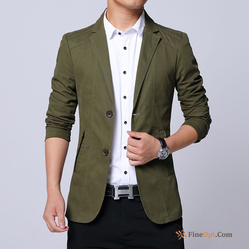 Autumn Coat Spring Pure Men's Military Green Cotton Rose Violet Blazer