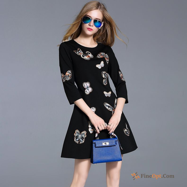 Autumn Embroidery Black Temperament Trend Fashion New Dress