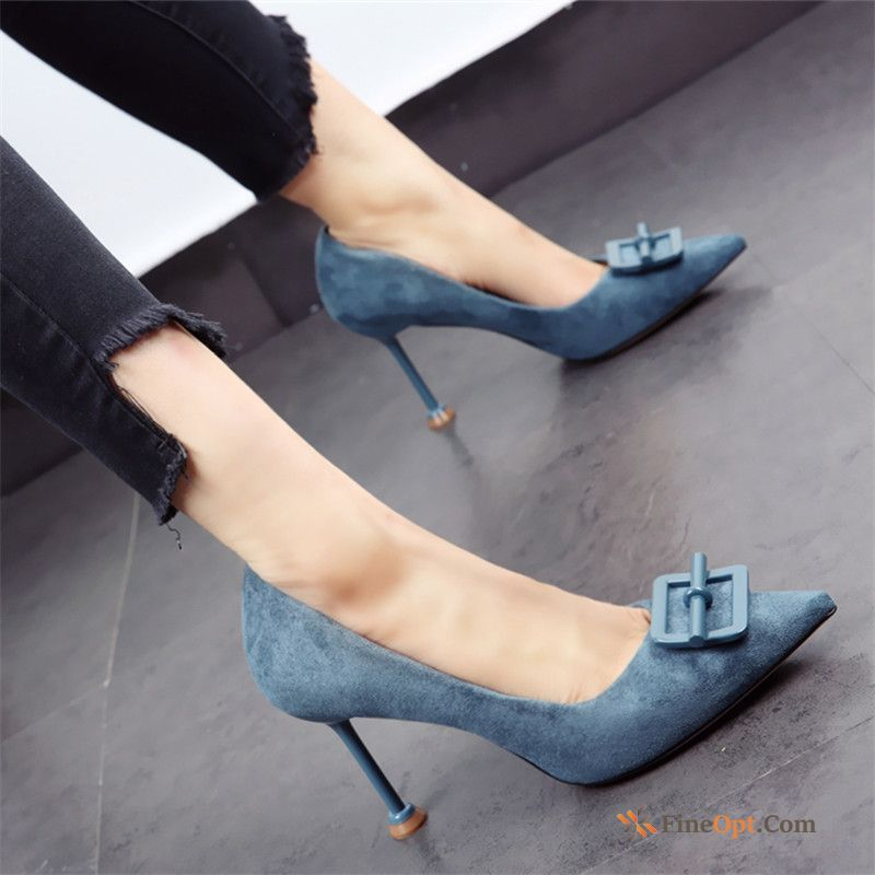 Autumn High Heels Pumps Work Shoes Spring Pointed Toe Thin Heels Blue Green Online