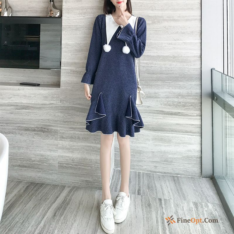Autumn Long Spring New Popular Blue Dress