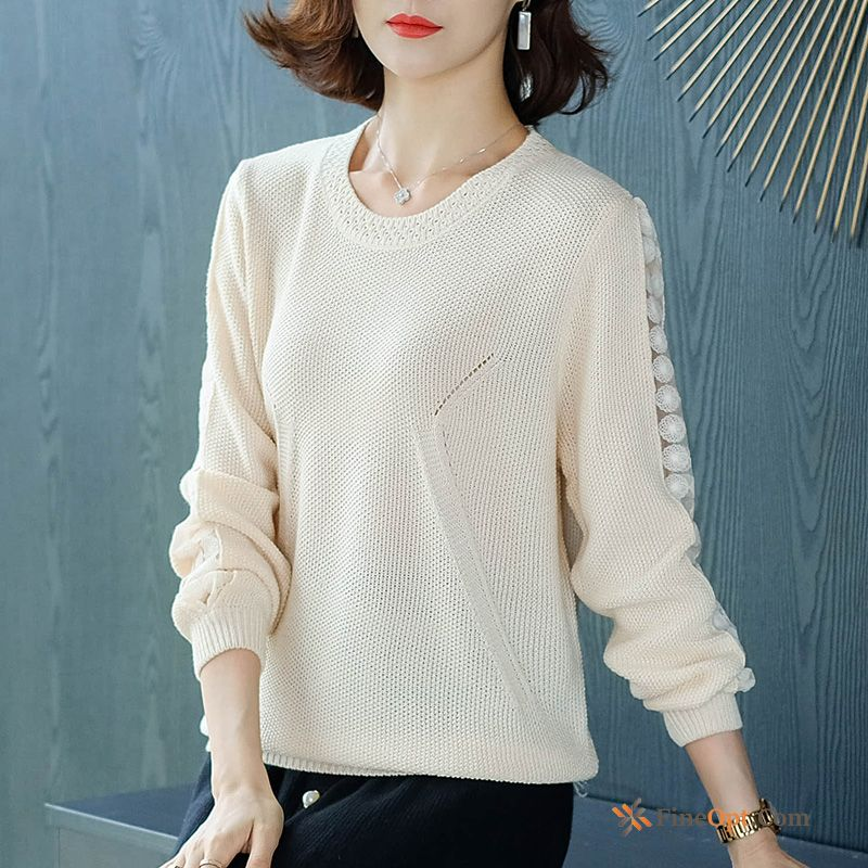 Autumn Skinny Bottoming Shirt Sweater Long Sleeves White Knitting Offwhite