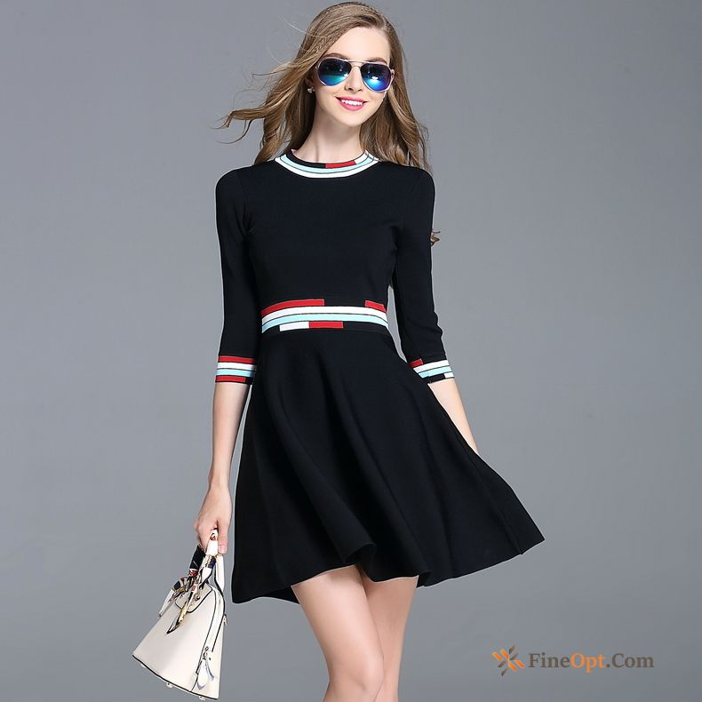 Autumn Trend Knitting Slim Black A Letter Spring Dress