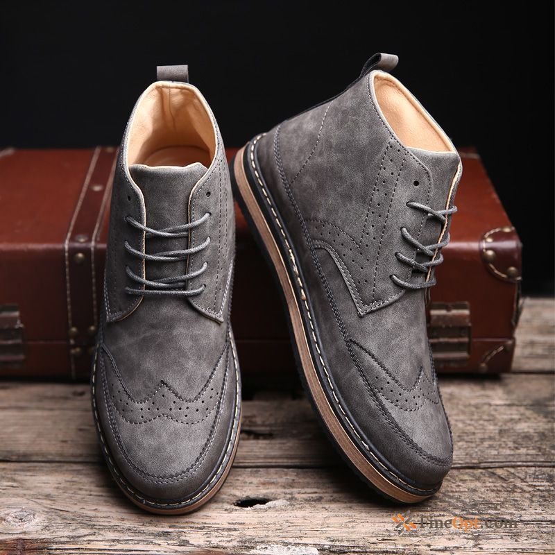 Autumn Winter Leather Shoes High Top Retro Martin Boots Men's Dull Black Boots Online