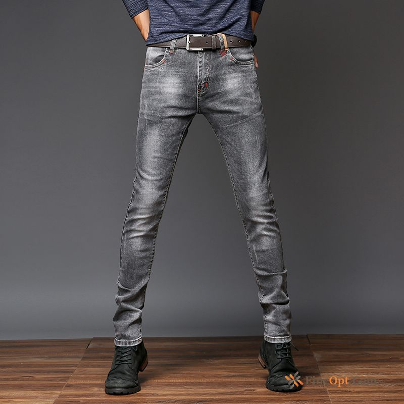 Autumn Youth Trend Elasticity Europe Trousers Slim Lake Jeans