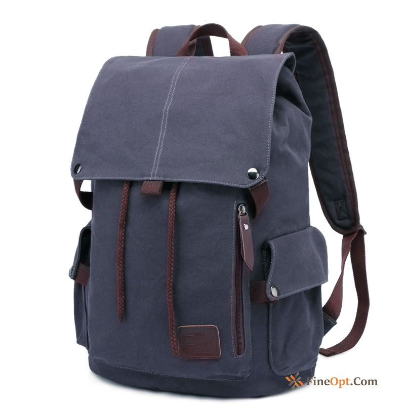 Backpack Canvas Men's Trend School Bag Leisure Laptop Bag Maroon Backpack Online