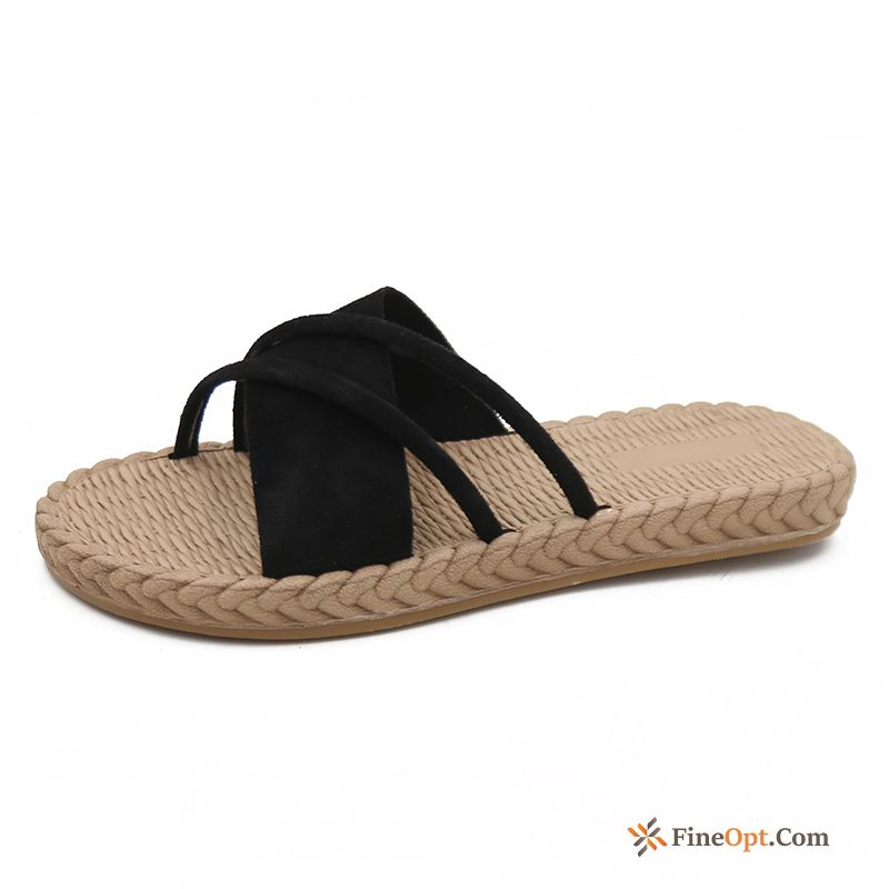 Black Beach All-match Summer Trend Red Flat Slippers Online