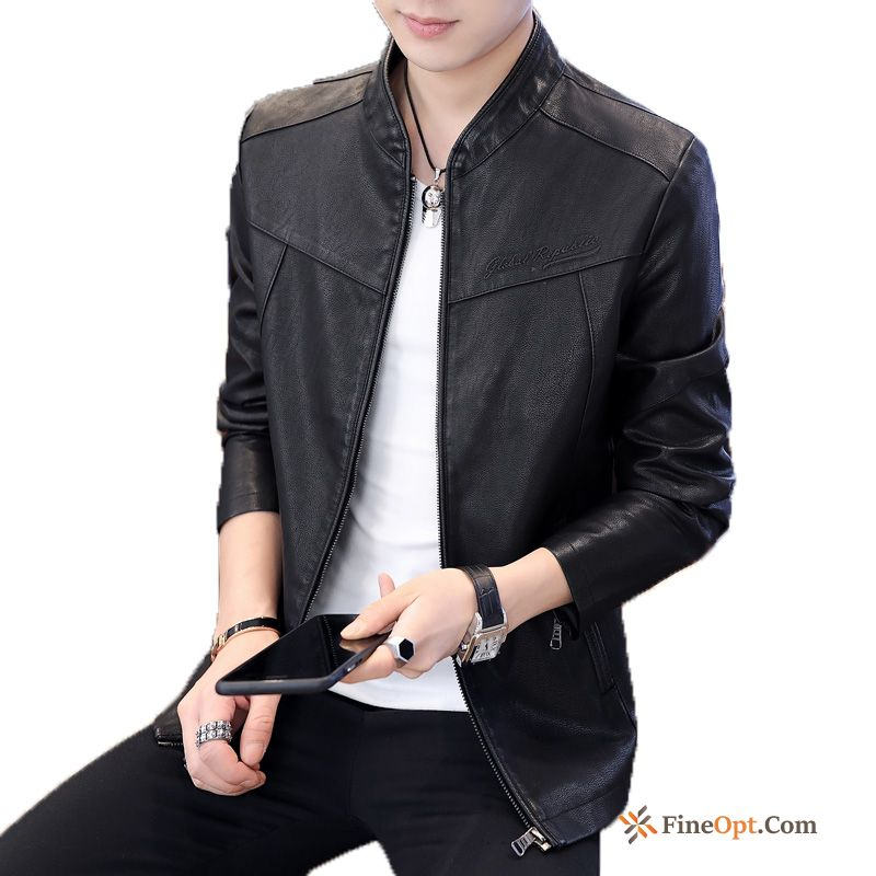Black Leather Jacket Locomotive Trend Europe Autumn Iris