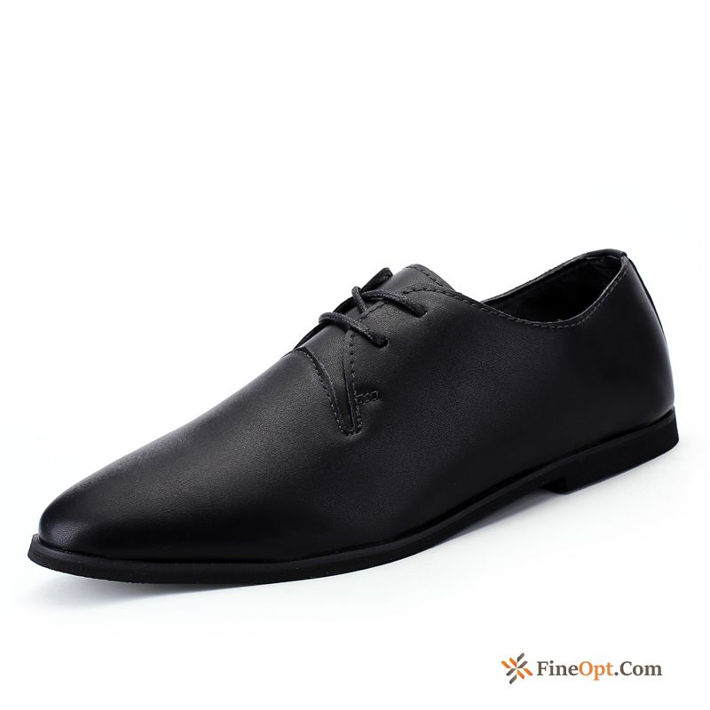 Black Spring Low Youth Business Leather Shoes Men's Sale