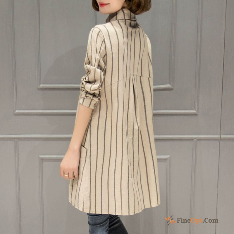 Blouse Europe Linen Splicing Spring Long All-match Blouse Sale