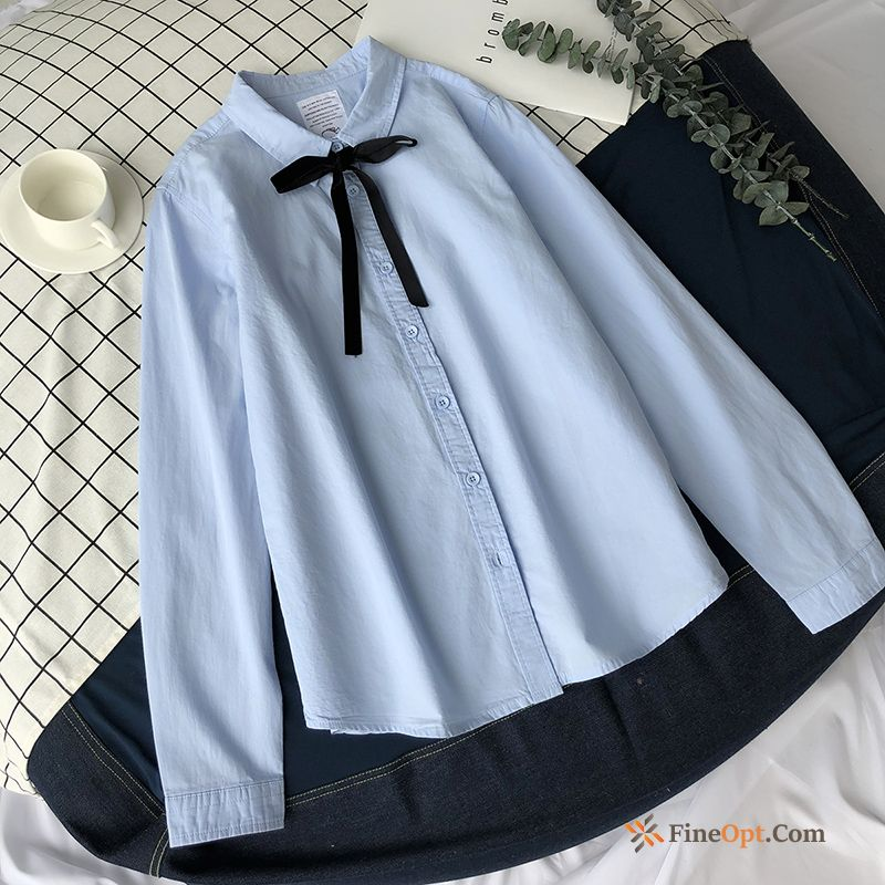 Blouse New All-match Long Sleeves Blue Fresh Autumn Blouse & Tops