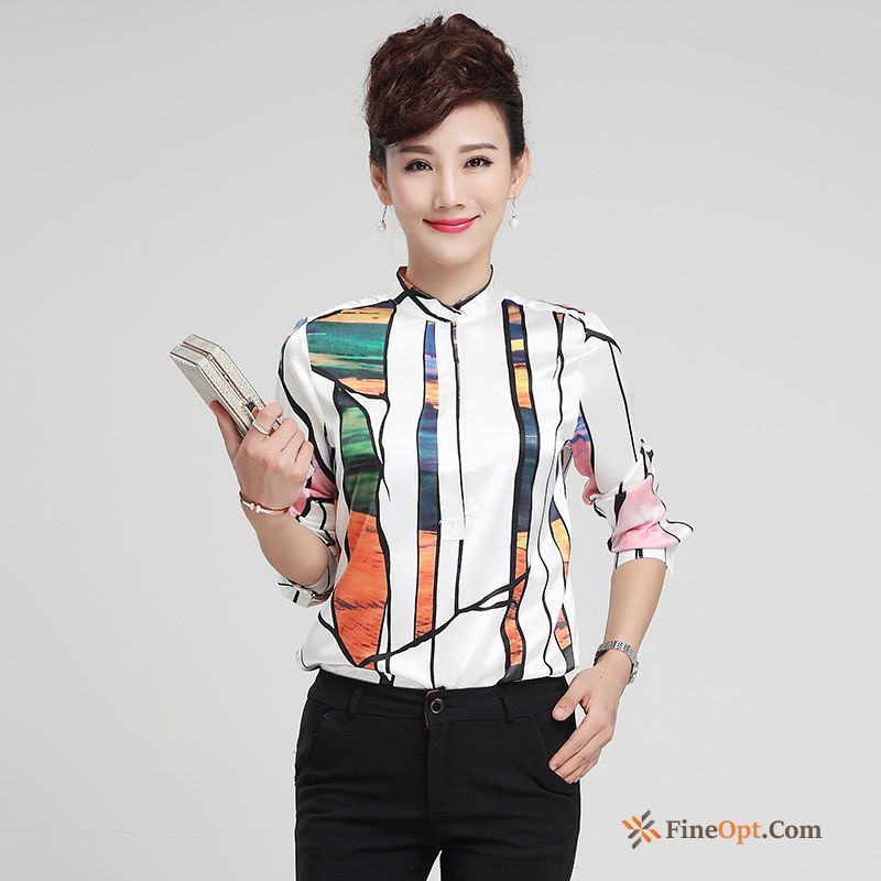 Blouse Silk Silk Printing Flower Spring Stand Collar Blouse