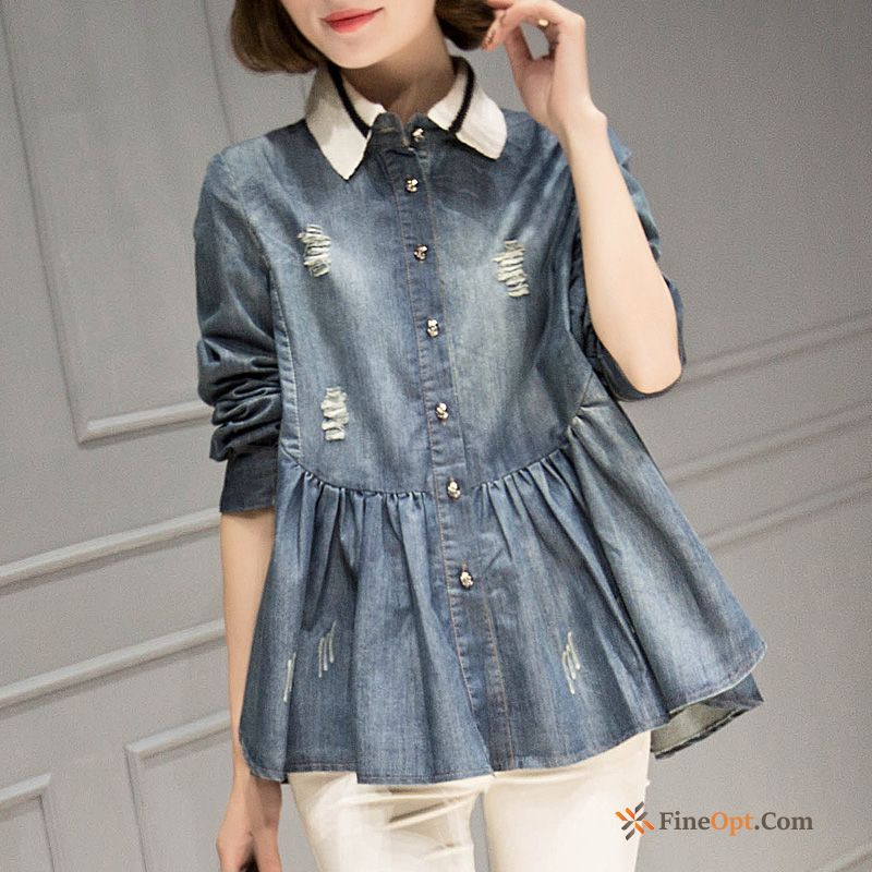 Blouse Thin Denim Europe New Loose Holes Turquoise Blue Blouse Online