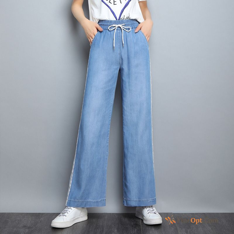 Blue Straight Silk Leisure Jeans High Waist Sport For Sale