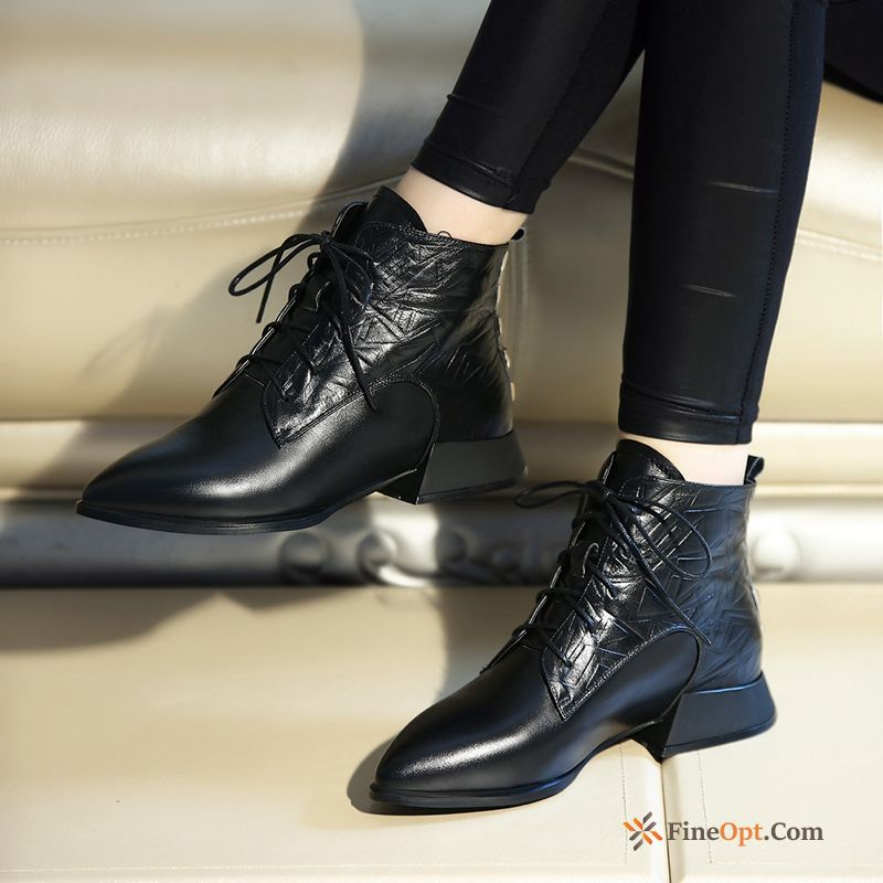 Boots Lace-up Genuine Leather British Big Size Short Boots Flat Sale