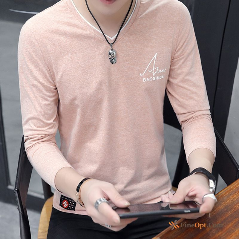 Bottoming Shirt Coat Ice Silk Autumn Trend Pink Men's T-shirts Online