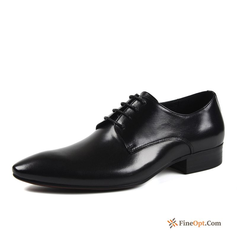 British Dress Men's Business Black Leather Shoes Trend Pitch-dark Online