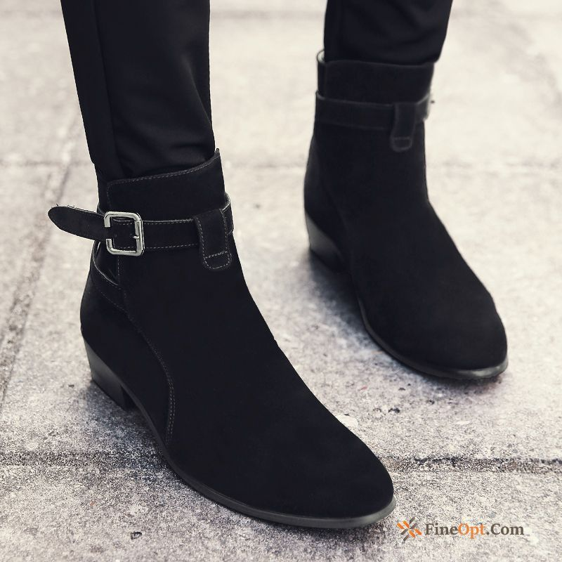 British High Top Leather Shoes Casual Trend Pointed Toe Martin Boots Boots Online
