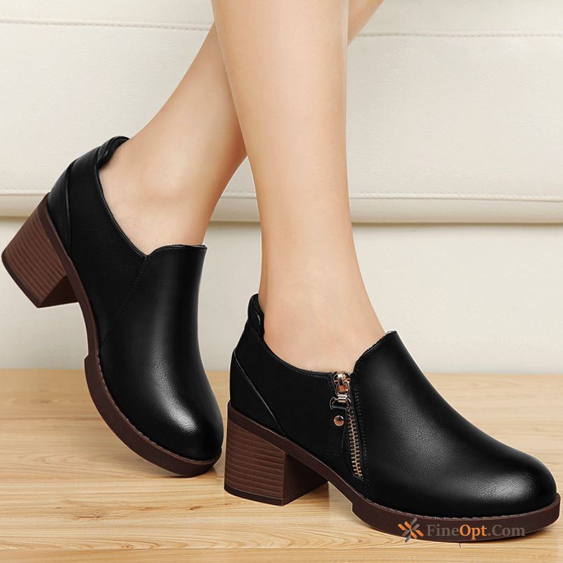 British Spring New Leather Shoes Pointed Toe College Mid Heel Online