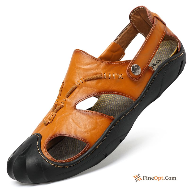 Brown Yellow Sandals New Men's Summer Leather Sandals