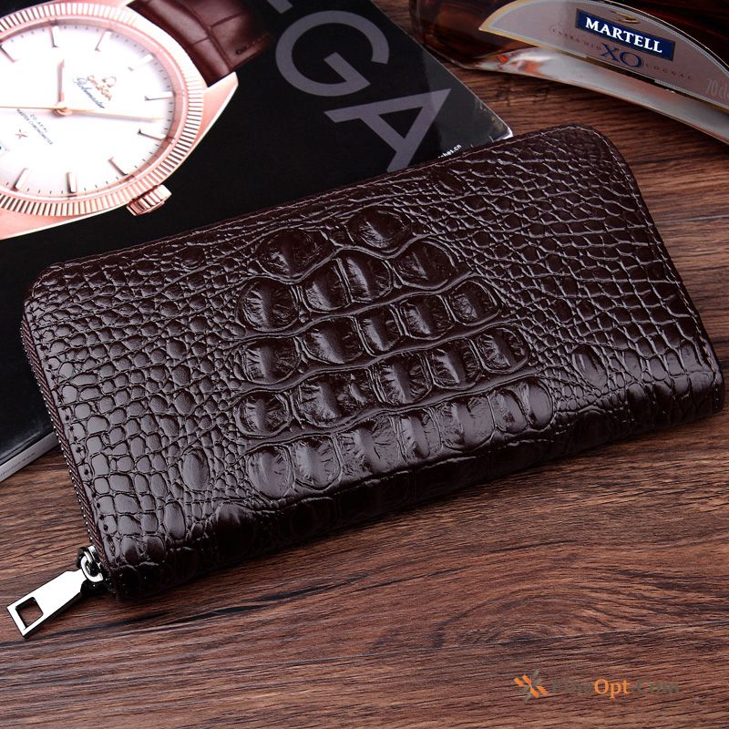 Business Crocodile Pattern Zipper Fashion Trend Wallet Clutch Bag Springgreen Wallets