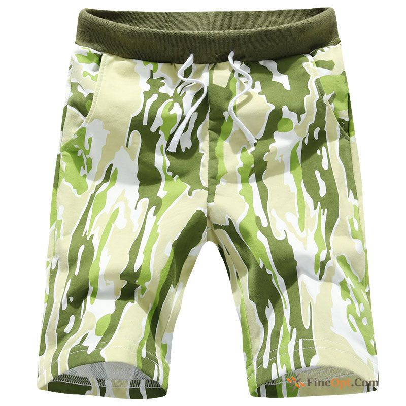 Camouflage Skinny Summer Trend Printing Beach Pants Purplish Red Shorts