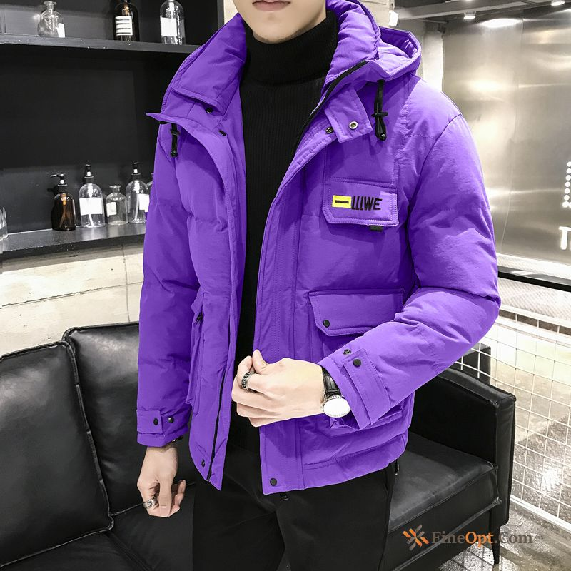 Cargo Thickening Cotton-padded Purple Men's Cotton Trend Cotton Jacket For Sale