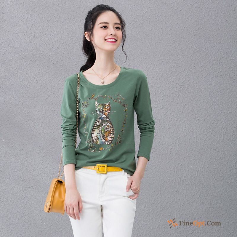 Cat Cotton New Flower Printing T-shirt Spring T-shirts Sale