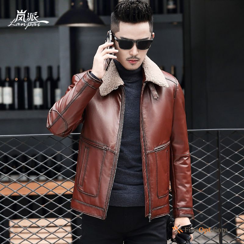 Cattle Genuine Leather Coat Down Jacket Men's Winter For Sale