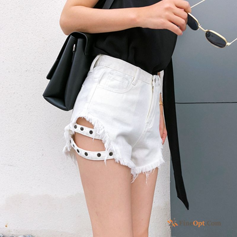 Cattle Pants Thin All-match High Waist Student White Navy Shorts Discount